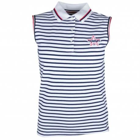 Polo sans manches Tommy Jeans rayé bleu marine et blanc logo étoile pour femme
