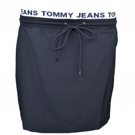 Jupe Tommy Jeans noire ceinture logotée élastique pour femme
