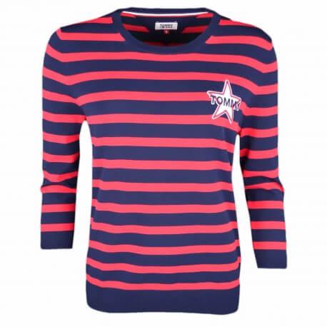 Pull col rond Tommy Jeans rayé bleu marine et rouge logo étoile pour femme