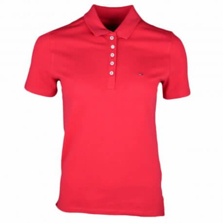 Polo 5 boutons Tommy Jeans rouge pour femme