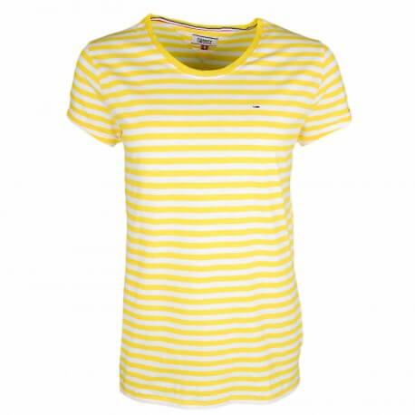 T-shirt col rond Tommy Jeans rayé jaune et blanc pour femme