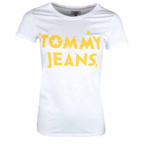 T-shirt col rond Tommy Jeans blanc inscription jaune pour femme