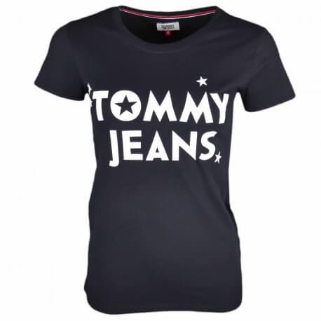 T-shirt col rond Tommy Jeans noir inscription blanche pour femme