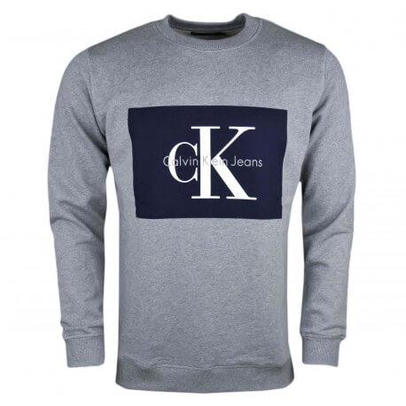 Sweat col rond Calvin Klein gris flocage bleu marine pour homme