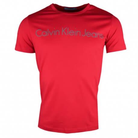 T-shirt col rond Calvin Klein rouge pour homme