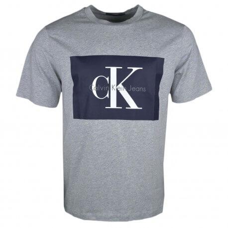 T-shirt col rond Calvin Klein gris flocage bleu marine pour homme