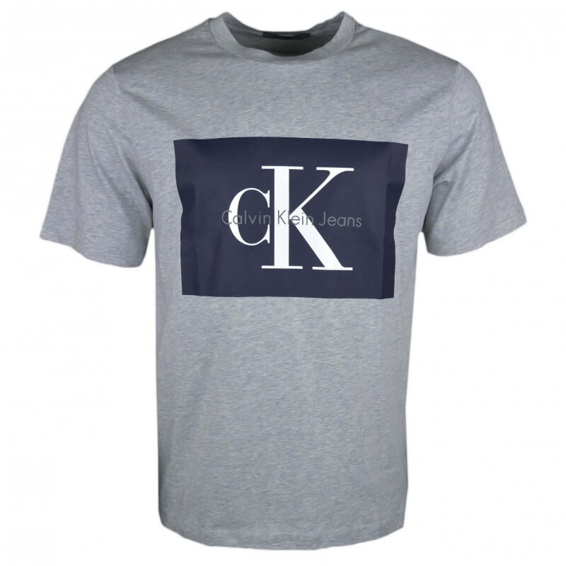c83f41cade6 T-shirt col rond Calvin Klein gris flocage bleu marine pour homme -...