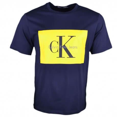 T-shirt col rond Calvin Klein bleu marine flocage jaune pour homme
