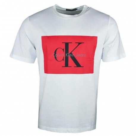 T Shirt Col Rond Calvin Klein Blanc Flocage Rouge Pour Homme Touj