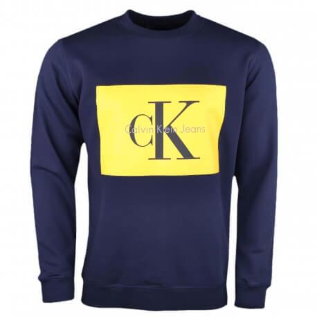 Sweat col rond Calvin Klein bleu marine flocage jaune pour homme