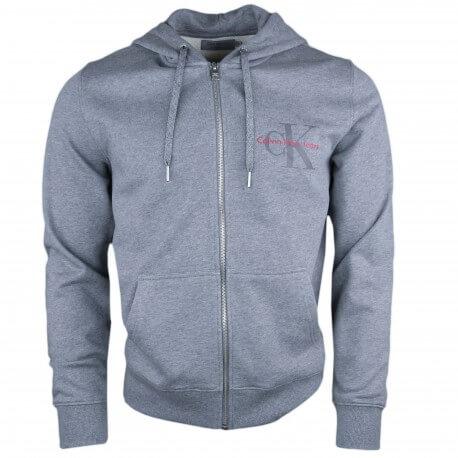 Sweat zippé à capuche Calvin Klein gris logo gomme pour homme