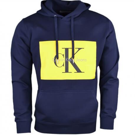 Sweat à capuche Calvin Klein bleu marine flocage jaune pour homme