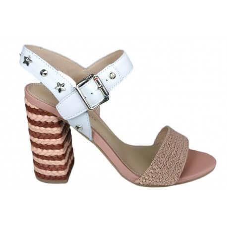 Sandales à talon tressé Tommy Hilfiger blanche et rose pâle pour femme