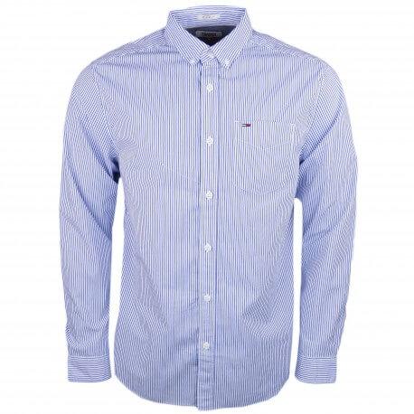 Chemise rayée Tommy Jeans bleu et blanche revers rouge pour homme