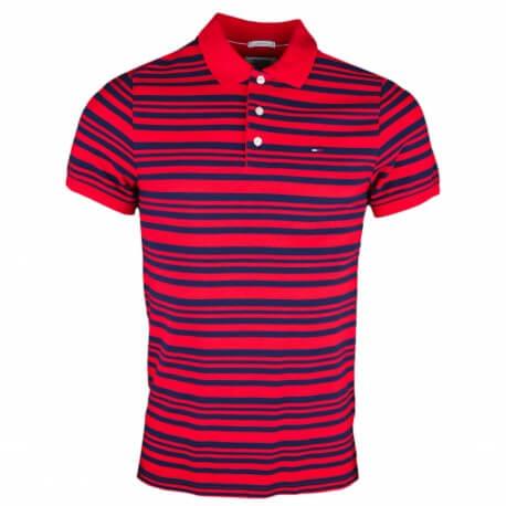 Polo Tommy Jeans rayé rouge et bleu marine slim fit pour homme