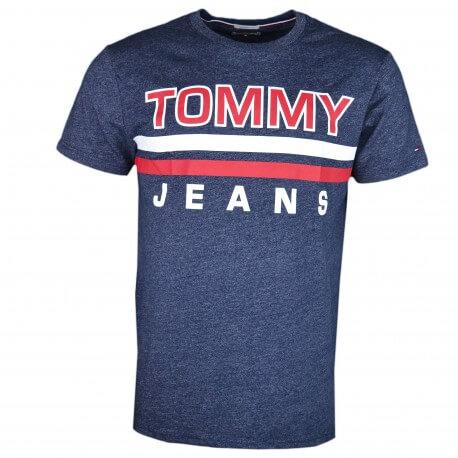 T-shirt col rond Tommy Jeans gris logo imprimé rouge et blanc pour homme