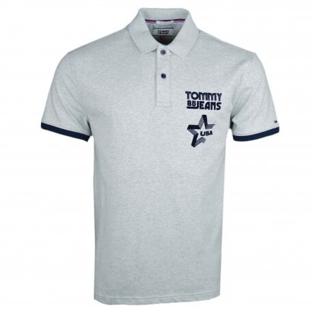 Polo Tommy Jeans gris USA pour homme