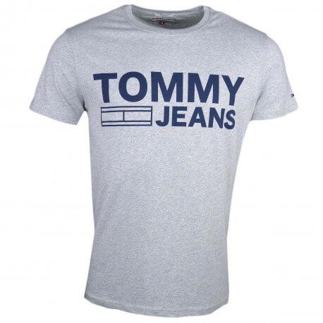 T-shirt col rond Tommy Jeans gris logo imprimé bleu marine pour homme