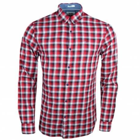 Chemise Tommy Jeans à carreaux rouge slim fit pour homme