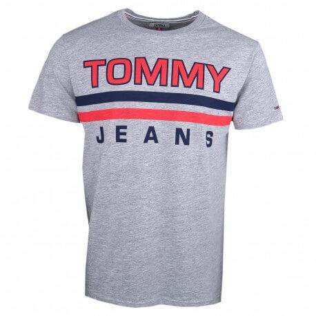 T-shirt col rond Tommy Jeans gris logo imprimé rouge et marine pour homme