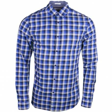 Chemise Tommy Jeans à carreaux bleu slim fit pour homme