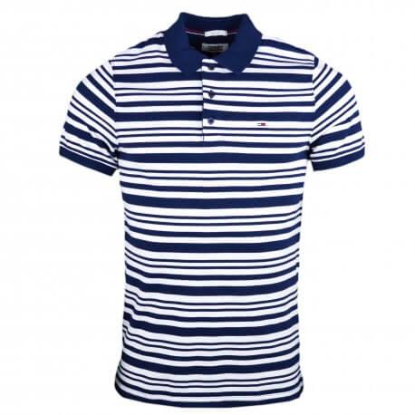 Polo Tommy Jeans rayé bleu marine et blanc pour homme