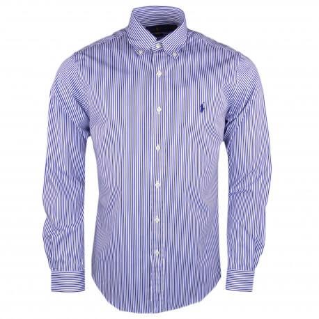 Chemise Ralph Lauren rayée bleu et blanche slim fit pour homme
