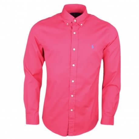 Chemise Ralph Lauren rouge rosé slim fit pour homme
