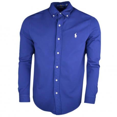 Chemise polo piquée Ralph Lauren bleu marine logo blanc pour homme