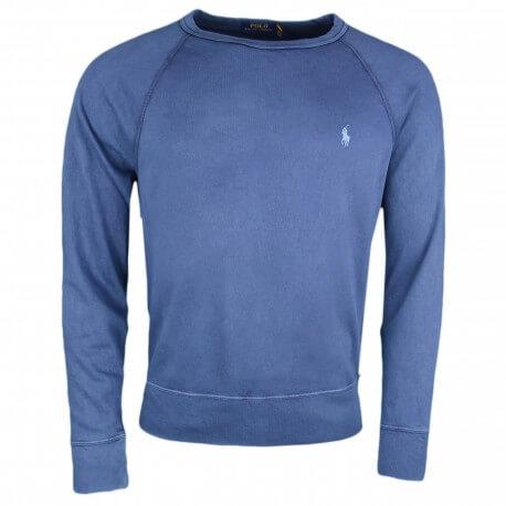 Pull éponge Ralph Lauren bleu marine logo bleu pour homme