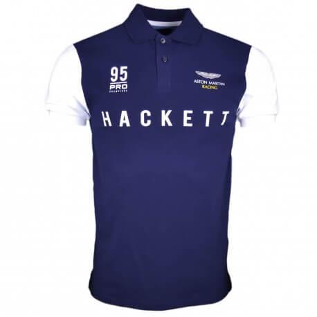 Polo piqué Hackett bleu marine bleu et blanc Aston Martine slim fit pour homme
