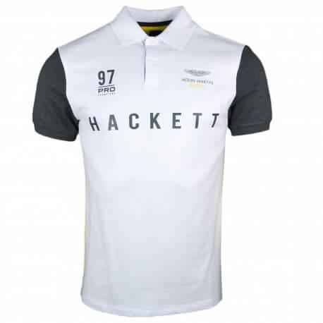 Polo piqué Hackett blanc jaune et gris Aston Martin slim fit pour homme