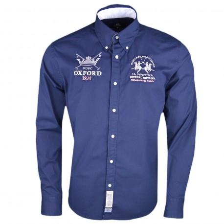 Chemise La Martina bleu marine Oxford 1874 régular pour homme