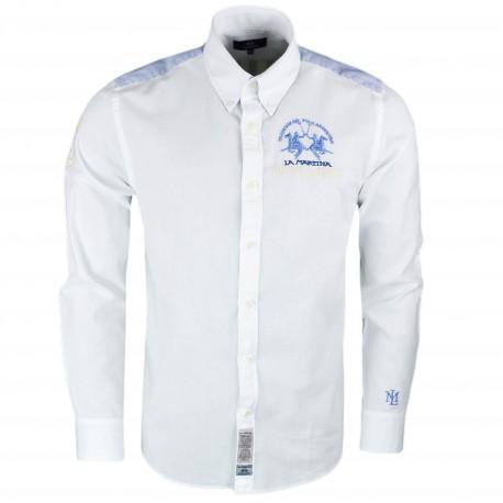 Chemise La Martina blanche et bleu Buenos Aires en lin régular pour homme