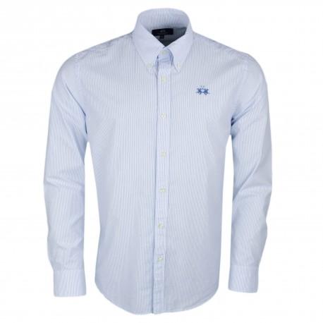 Chemise La Martina rayée basique bleu et blanche régular pour homme