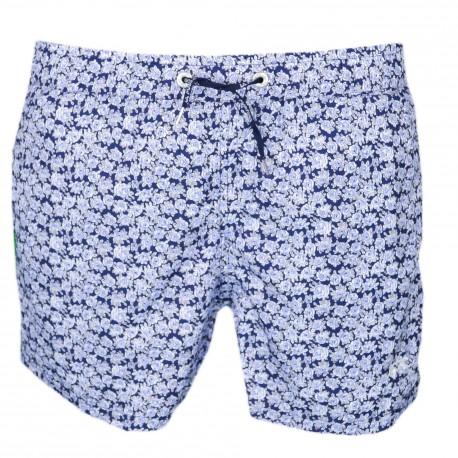 Short de bain La Martina bleu marine à motif fleur bleue pour homme