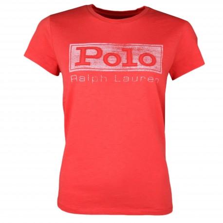 T-shirt col rond Ralph Lauren POLO rouge pour femme
