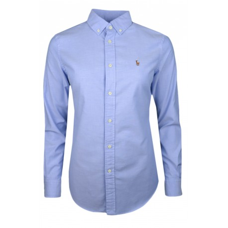 Chemise Oxford Ralph Lauren bleu logo multicolore slim fit pour femme
