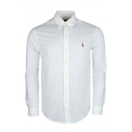 Chemise polo Ralph Lauren blanche en coton piqué pour homme