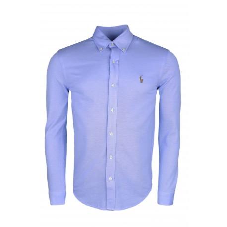 Chemise polo Ralph Lauren bleue en coton piqué pour homme