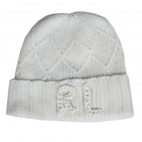 Bonnet tricoté Ralph Lauren blanc crème pour femme