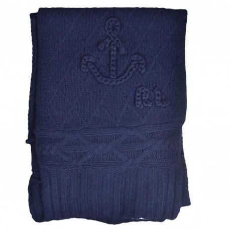 Echarpe tricotée Ralph Lauren bleu marine en laine pour femme