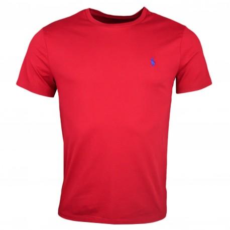 T-shirt col rond Ralph Lauren rouge logo bleu pour homme