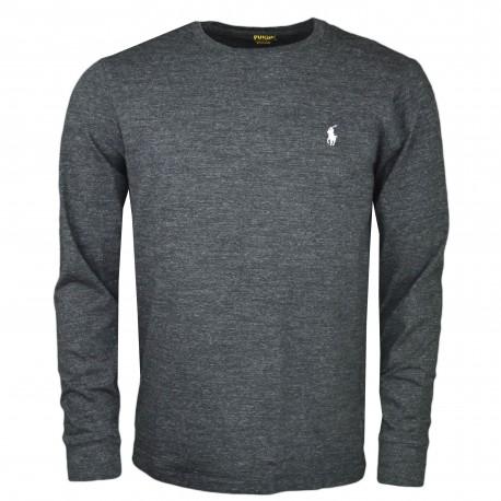 T-shirt manches longues Ralph Lauren noir irisé col rond pour homme