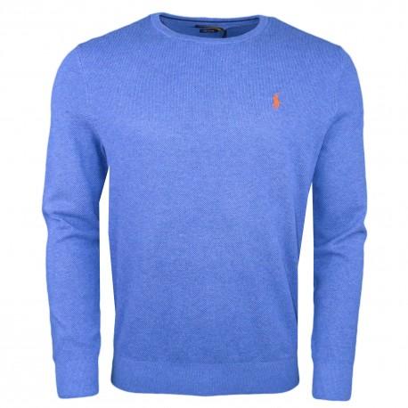 Pull col rond Ralph Lauren bleu logo orange nid d'abeille pour homme