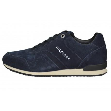 Baskets sneakers Tommy Hilfiger bleu marine en daim pour homme
