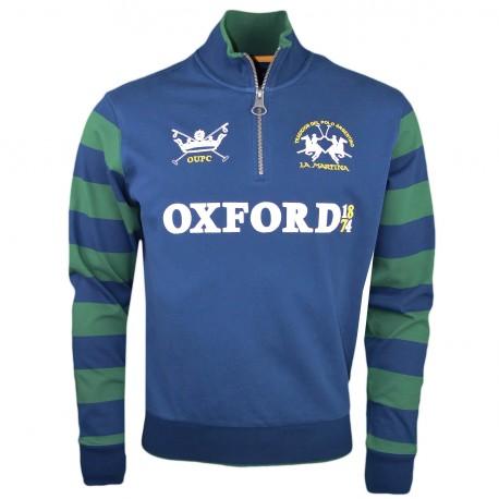 Sweat col montant zippé La Martina bleu marine et vert Oxford 1874 pour homme