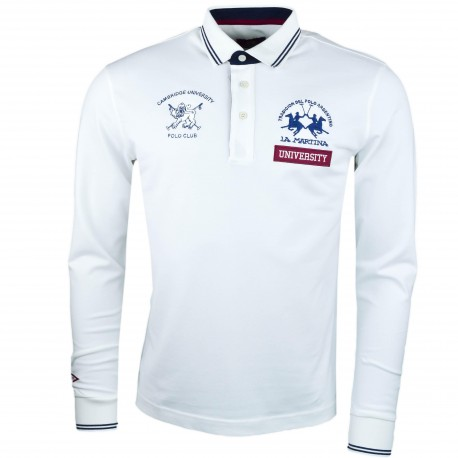 Polo manches longues La Martina blanc Cambridge University pour homme