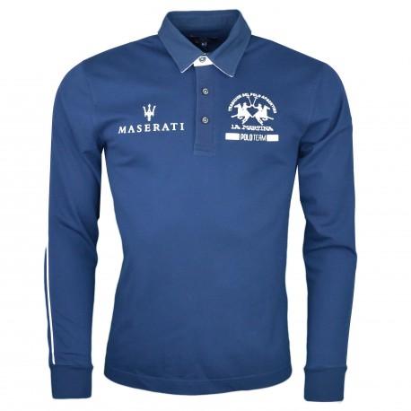 Polo manches longues La Martina bleu marine Maserati pour homme