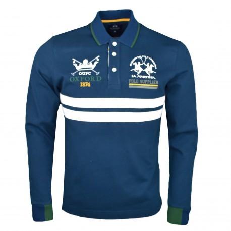 Polo manches longues La Martina bleu marine Oxford Univerity pour homme